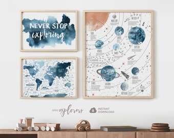 Toddler boy room decor, Set of 3 prints, Sky blue nursery art, World map for kids, Never stop exploring, Solar system poster, Printable art