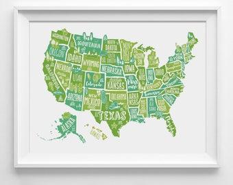 Kids usa map | Etsy