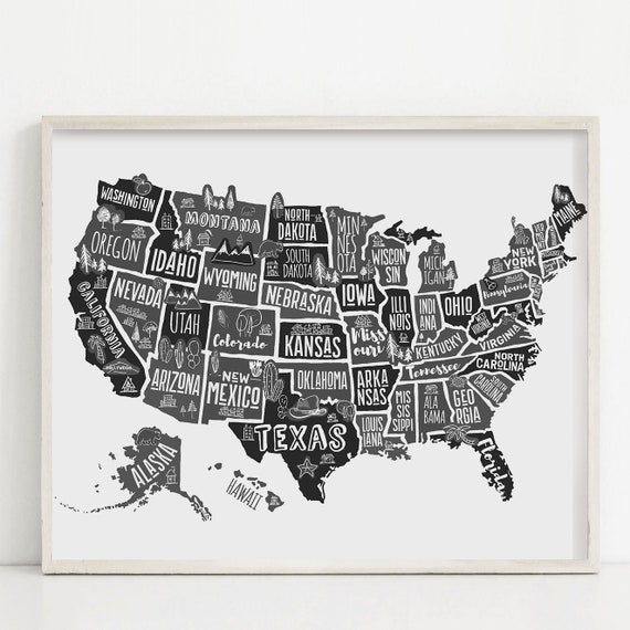 Black and white USA wall art for kids Map of America | Etsy