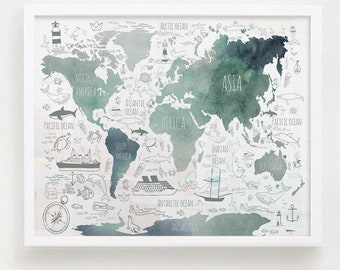 Watercolor world map etsy teal watercolor world map print nautical nursery art mint green poster kids room gumiabroncs Image collections