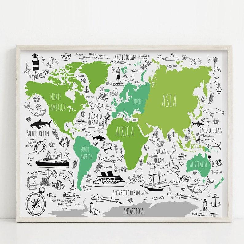 World map for kids Nautical nursery art Fun woodland poster | Etsy