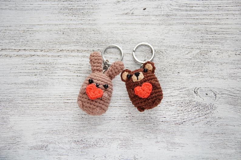 Tiny crochet bear soft animal keychain