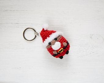 Black Santa Claus amigurumi keychain Xmas plush gift