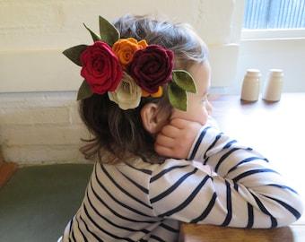 Felt flowers headband/clip- Baby crown-Felt Flower Crown-Floral Crown-Festival Wear-Rose-Photo shoot-Wedding-Birthday party-Boho style