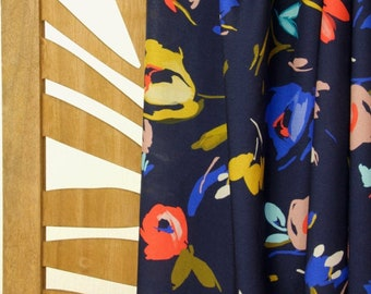 Viscose - Woven Fabric - Atelier Jupe - Painted Flowers