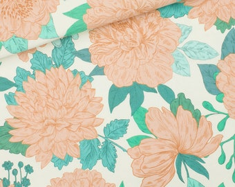 French Terry - Summer Sweat - Cotton - Syas - Peonies - Sea Salt White