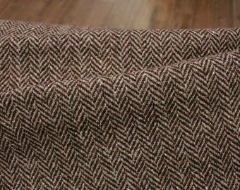 Wool fabric - Herringbone - Brown