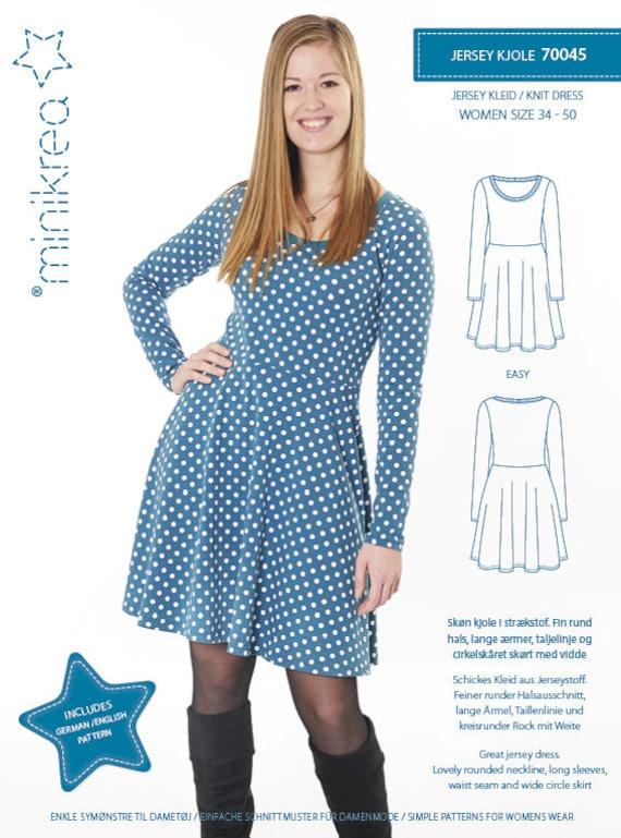 Schnittmuster Damen Minikrea 70045 Jersey Kleid | Etsy