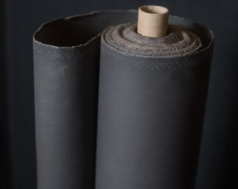 Oilskin - woven fabric - waxed cotton - Grey