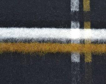 Wool Fabric - Mixed Fabric - Check Black/Mustard/Ecru