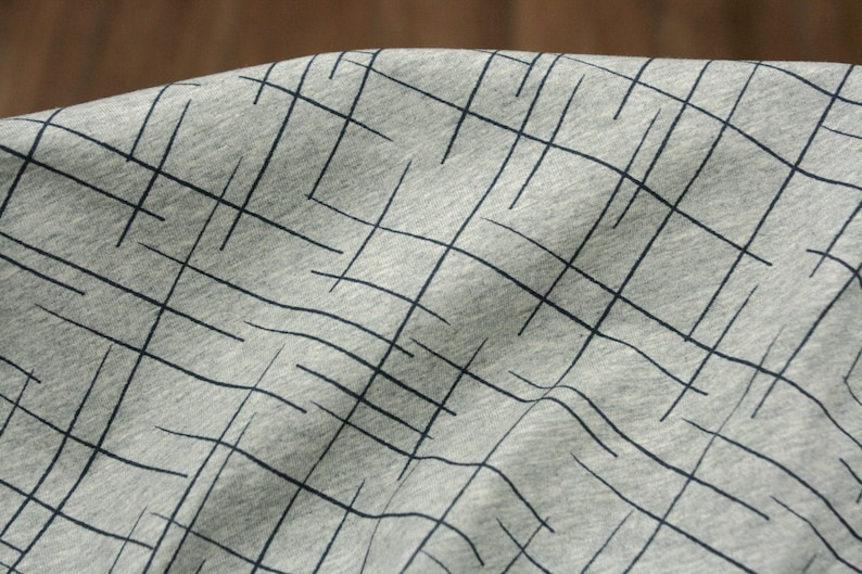 ORGANIC Jersey  Cotton  Lille fabric  Cross The Lines image 0