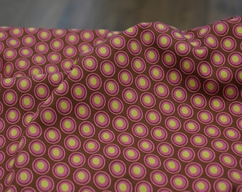Weaving Fabric - Cotton - Oval Elements - Chocolate Cherry
