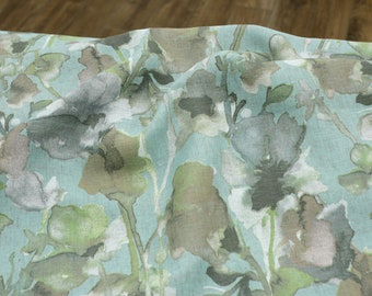 Linen - Linen Chambray Printed - Woven Fabric - Watercolor Light Blue