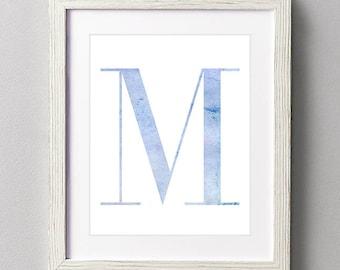 Letter M | Nursery Print | Nursery Art | Alphabet | Instant Download | Digital Print | Wall Art | Baby Boy | Initials | Blue | Watercolor