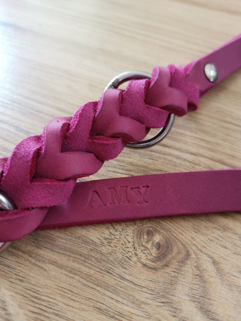 Fat leather leash pink 2 times adjustable