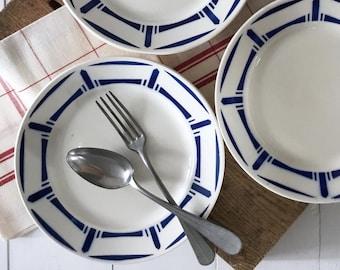 Antique plates, 6 French vintage plates, Badonviller Lucie design 1900s, French stencil blue design plates, Vintage French diningware gift