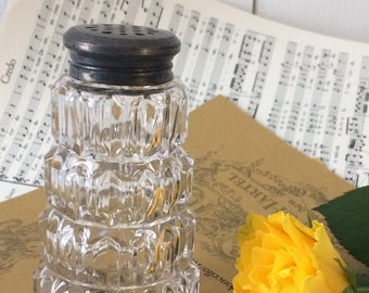 Vintage French sugar shaker.Molded glass.silver plated French sugar shaker,Vintage sugar shaker 1950s. French home living.Tea party culture