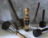 Wood utensil set, 6 French antique wooden utensils, Vintage wood kitchen Utensil, hand made wood utensils, wooden kitchen utensils