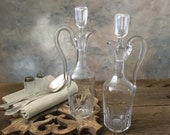 Antique cruet set, 2 French antique oil vinegar matching set, Cruet bottles set, Oil vinegar glass bottles, Antique French Country tableware