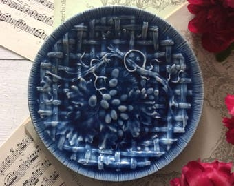 Barbotine blue plate, Antique French barbotine plate Choisy le Roy 1850-1900, Barbotine grape embossed plate, French antique majolica plate