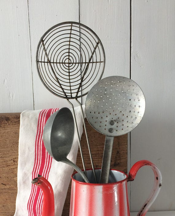French Vintage Set Of 3 Kitchen Utensils.1950's Rustic