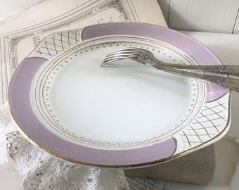 Round serving plate Vintage French cake plate Lu0027Amandinoise 1940s cake serving plate lilac white Vintage French ironstone dish & Cake plates   Etsy