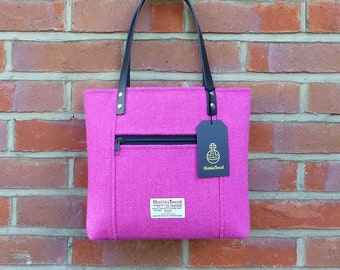 21b4f5f0f5 Navy Blue with a Pink and White Overcheck Harris Tweed Handbag