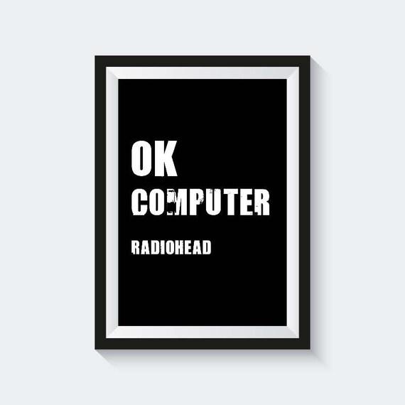Ok Komputer Typografia Radiohead Do Pobrania Plakat Graficzny Czarno Białe