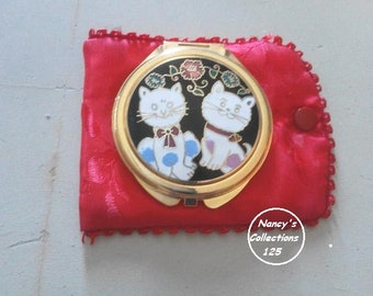Cat Lover Mirror and Satin Holder Cat Gifts Purse Mirror Cosmetic