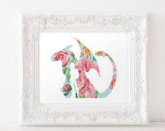 How to train your dragon etsy how to train your dragon cross stitch pattern toothless hiccup flower floral silhouette nursery baby room ccuart Image collections
