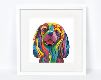 Colorful Cavalier King Charles Spaniel cross stitch pattern Abstract rainbow Spaniel cross stitch, Instant download PDF #2204