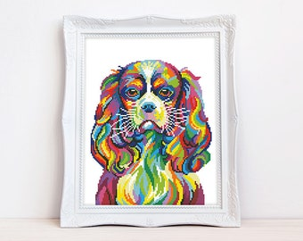 Colorful Cavalier King Charles Spaniel cross stitch pattern Abstract rainbow dog cross stitch, Instant download PDF #2164