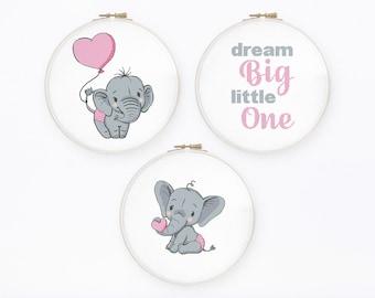 Dream big cross stitch pattern Set of 3 new baby girl cross stitch Pink nursery decor, Instant download PDF #700
