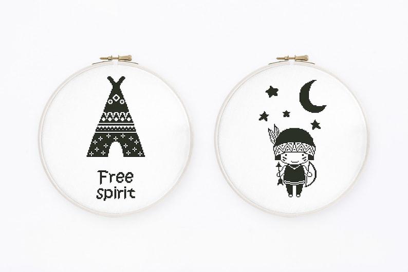 Free spirit cross stitch pattern, Set of 2 baby cross stitch, Indian boy,  Scandi nursery, Monochrome, Teepee, Instant download PDF #647