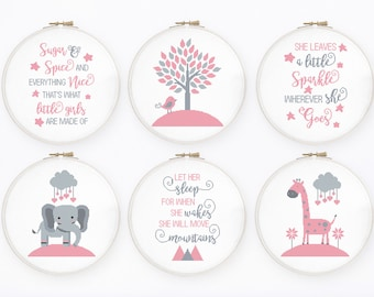 Baby girl cross stitch pattern Set of 6 nursery cross stitch She will move mountains inspirational quote, Instant download PDF #755