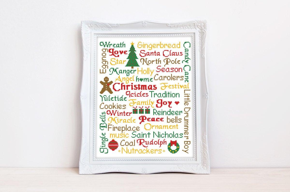 Christmas cross stitch pattern Typography Subway Santa Eve   Etsy