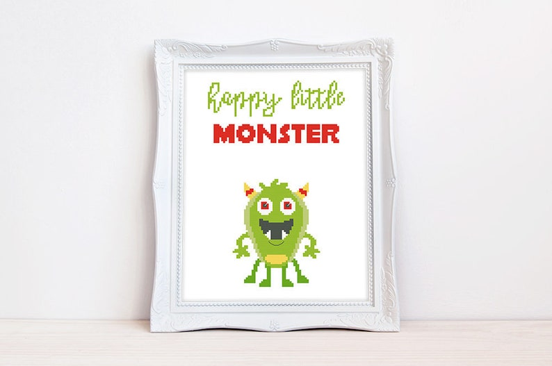 Happy litlle monster cross stitch pattern, Baby cross stitch, New baby boy,  Kids, Funny quote, Cute typography, Instant download PDF #810