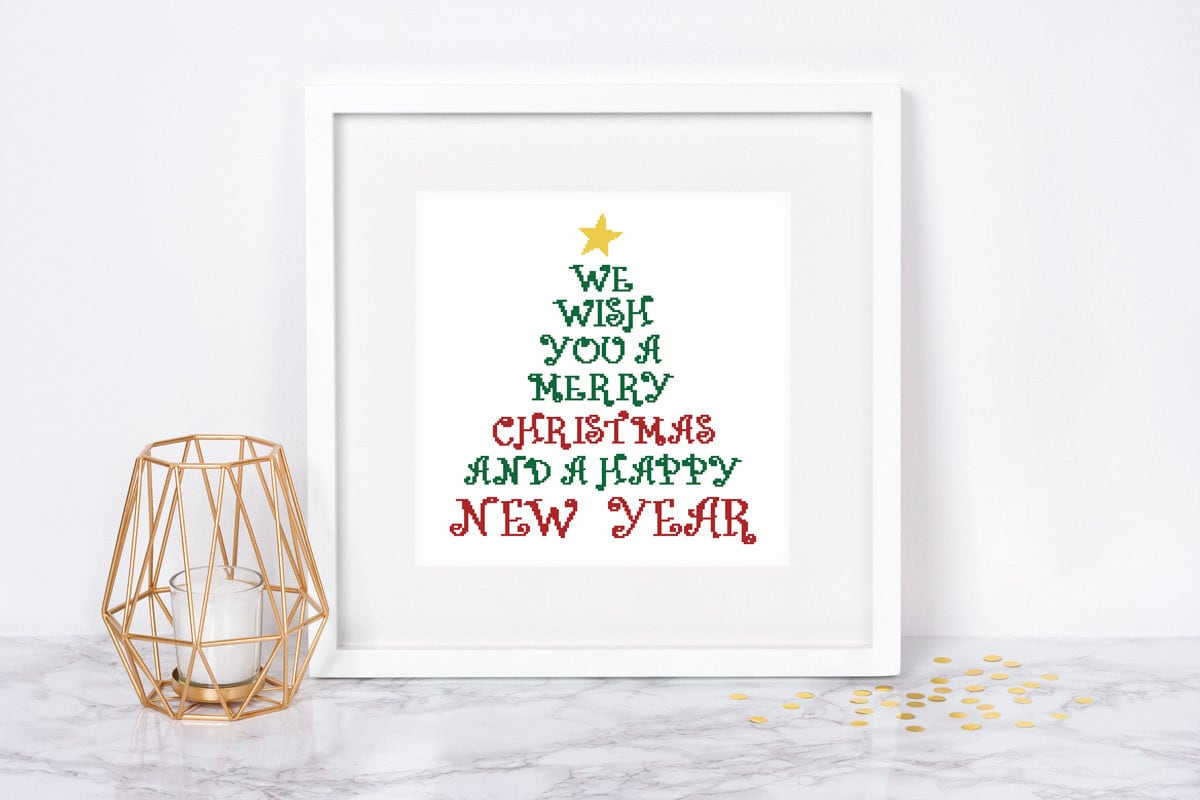 Christmas tree cross stitch pattern Typography Subway Santa   Etsy