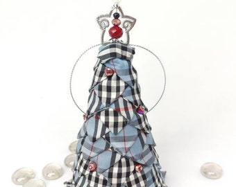 Silk plaid quilted Christmas tree, Mini tabletop tree, hostess gift idea, folded fabric mini tree, mantle decor, stocking stuffer