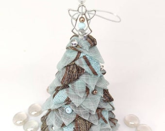 Mini tabletop tree, pinecone ornament, water lily ornament, quilted Christmas tree ornament, hostess gift, organza folded fabric ornaments