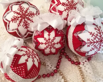Snowflake quilted Christmas bauble, quilted ornament, cross stitch ornament, fabric ornament, christmas ball ornament, housewarming gift