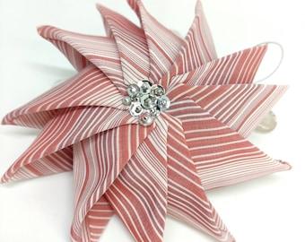 Beautiful pinwheel sold individually or in sets, coastal or fall decor ornament, folded fabric ornament, housewarming or hostess gift