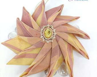 Fall decor, pinwheel fall tree ornament, luxurious quilted ball ornament, fabric ornaments, teachers gift, housewarming gift, hostess gift