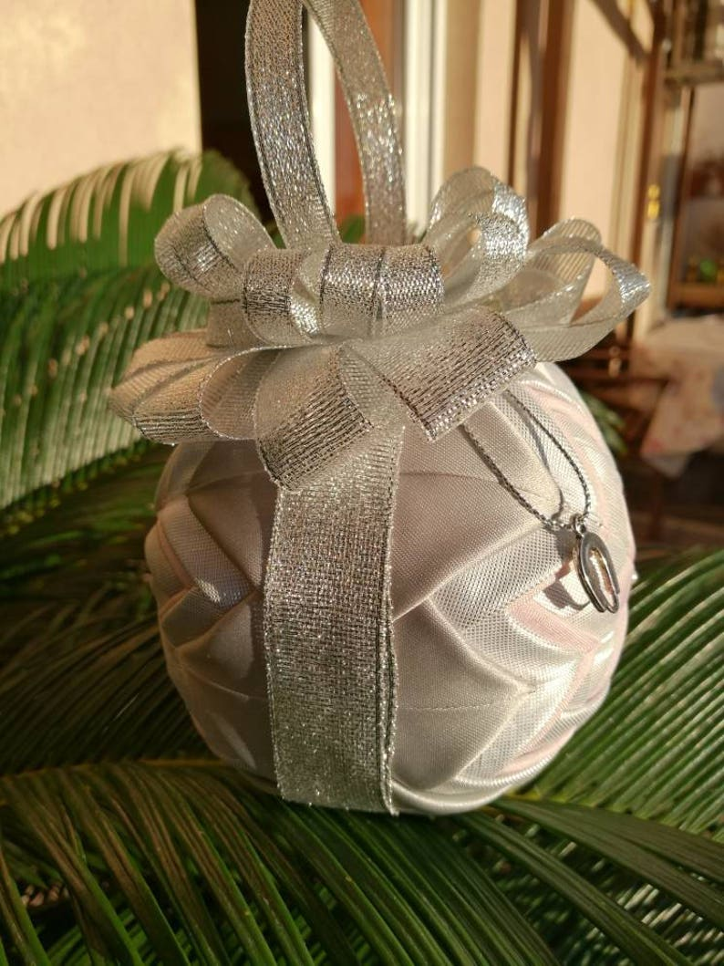 gift folded fabric ornament mantel decor christmas present Christmas tree ornament housewarming gift quilted Christmas bauble ornament