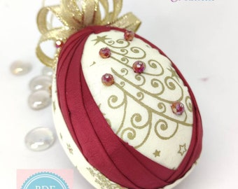 TUTORIAL, Swan egg design, folded fabric egg pattern, no sew quilted egg, PDF step by step instructions, DIY quilted egg