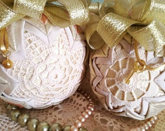 Quilted ornament, Christmas bauble, crochet lace ornament, folded fabric ornament, christmas ornament, christmas present, housewarming gift