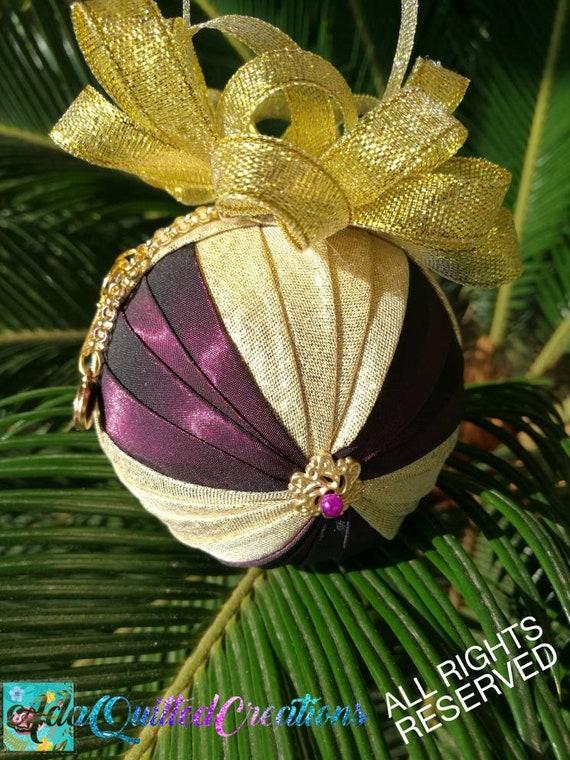 A Royal Christmas Ball.Quilted Christmas Ball Ornament Royal Christmas Tree Ornament Fabric Ornament Folded Fabric Ornament Teacher S Gift Housewarming Gift