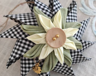 Sunflower pinwheel ornament sold individually or in sets, coastal decor ornament, folded fabric ornament, housewarming gift, hostess gift