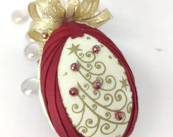Christmas quilted ornament, swan egg ornament, folded fabric ornaments, housewarming gift, folded fabric ornament, teacher's or hostess gift