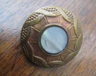 Antique Mother of pearl grey mother of Pearl carved 22 mm metal button